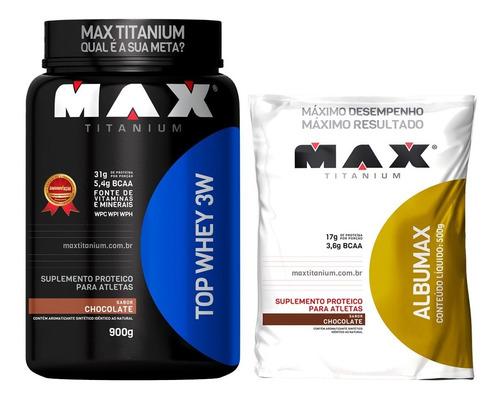 kit hipertofia top whey 3w + albumina 500g - max titanium