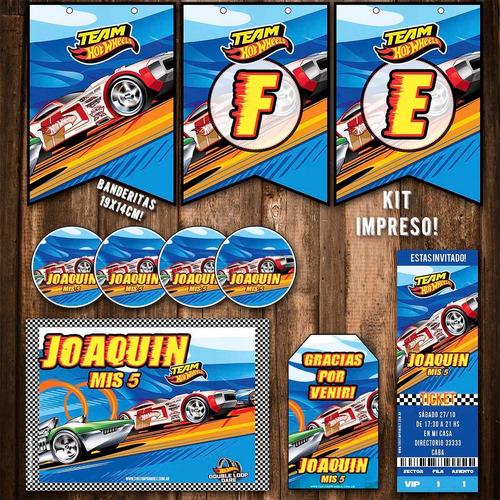 kit hot wheels invitaciones banderín stickers impreso