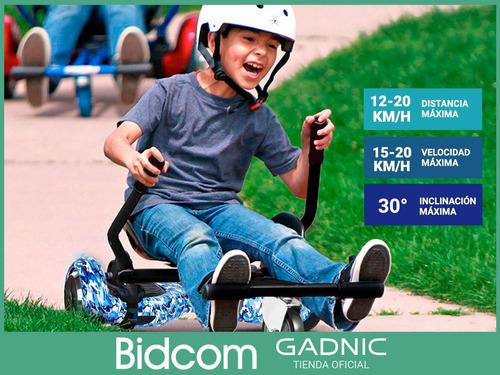 kit hoverboard balance led 6,5 + karting gadnic día del niño