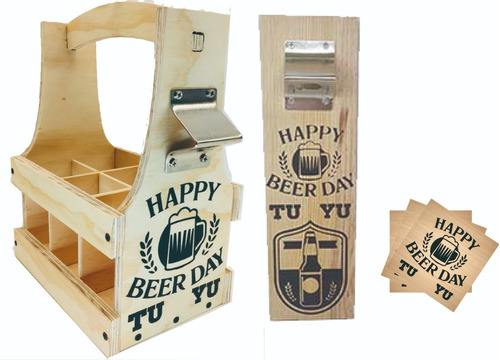 kit huacal p cervezas, destapador, porta vasos personalizado