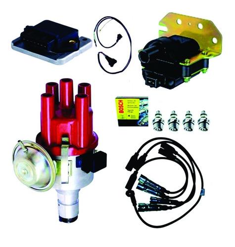 kit ignição eletrônica fusca kombi c/ cabo preto e velas