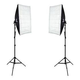 Kit Iluminação Duplo Softbox 50x70cm E Tripé 2m Para Estúdio