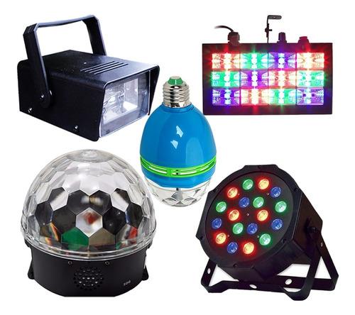 kit iluminaçao para festa jogo de luz strobo globo bluetooth