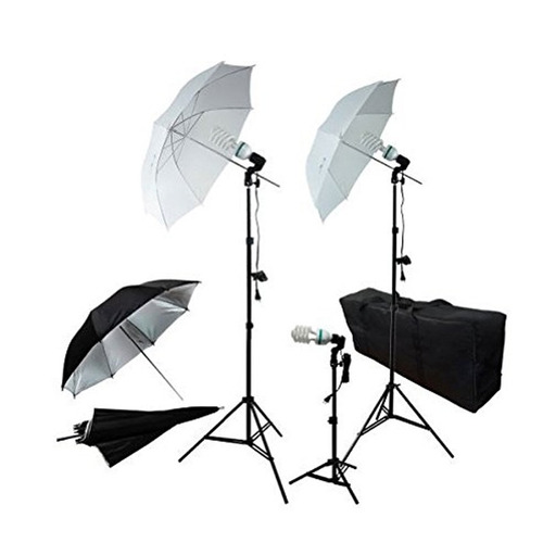 kit iluminacion 800w fotografia video 4 sombrillas maletin