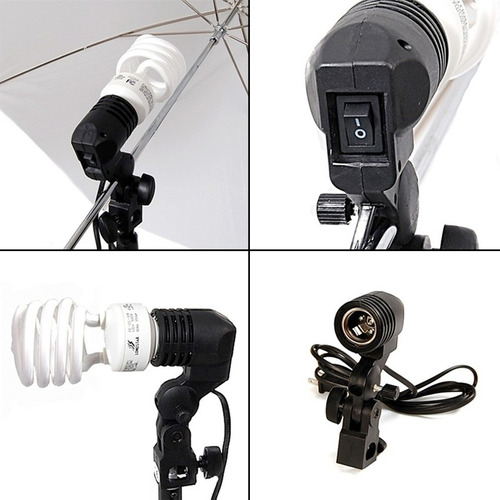 kit iluminacion estudio fotografia video 675w 2 sombrillas