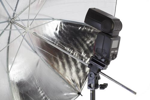 kit iluminación strobist con tres sombrillas, swivel y bolso