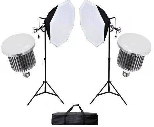 kit iluminação 100w lâmpada led octogonal 70cm+ 2 x tripe 2m