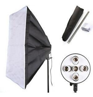 kit iluminação 2 softbox 5 soquetes