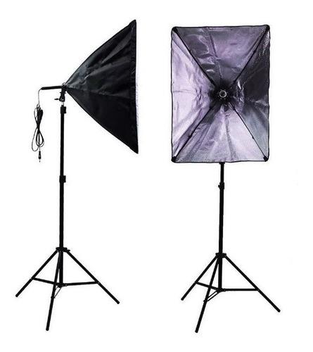 kit iluminação com soft 50x70 e27 + tripé 2m.+lâmp led 50w