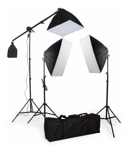 kit iluminação estudio eros 3 softbox 2 tripé 1 girafa 110v