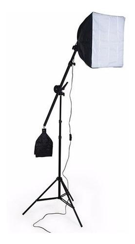 kit iluminação estudio eros 3 softbox 2tripés 1girafa bivolt