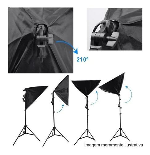 kit iluminação estúdio softbox e27 50x70cm com tripé