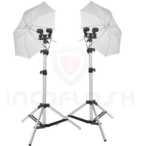 kit iluminação fotográfica luz contínua e flash