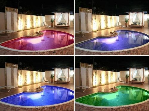kit iluminação para piscina 5 refletores  inox + comando