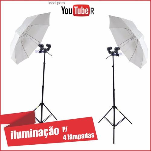 kit iluminação youtuber quadruplo - temos loja