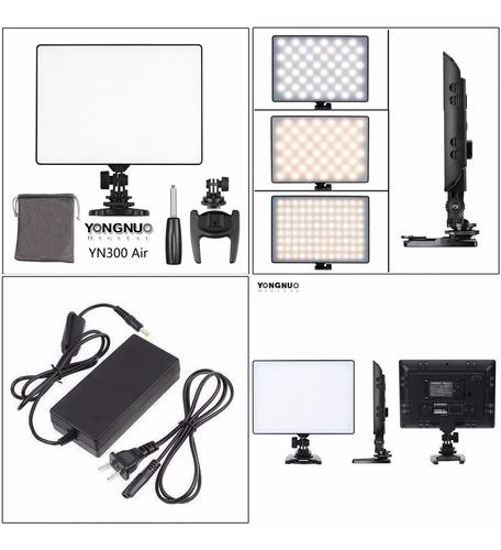 kit iluminador led yongnuo yn-300 air + fuente 220v + envío