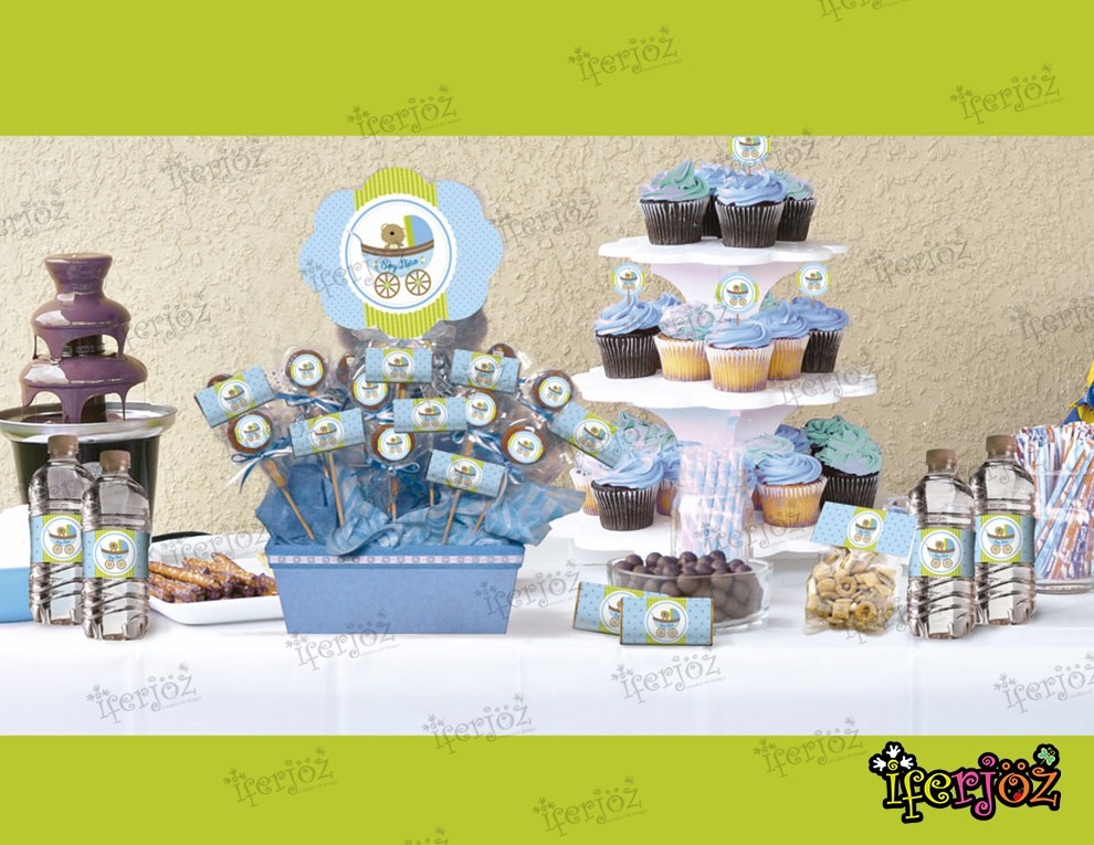 kit impreso mesa de dulces candy bar baby shower ni o oso
