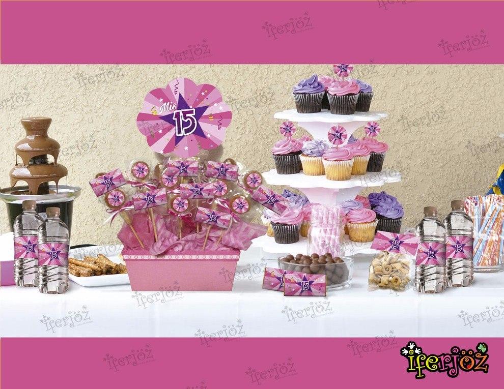 Kit impreso mesa de dulces candy bar xv a os en for Mesa de dulces para xv anos