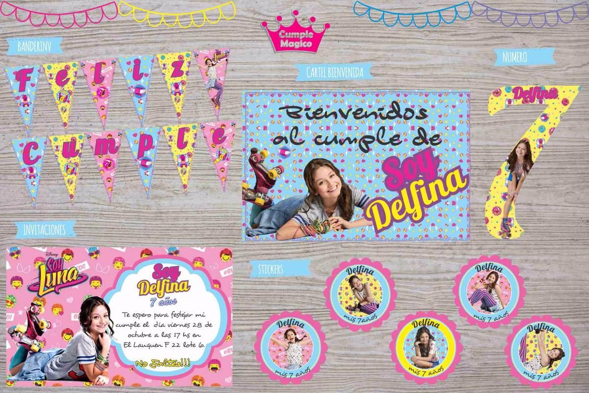 Kit Impreso Soy Luna Invitaciones Cartel Banderin Stickers 400