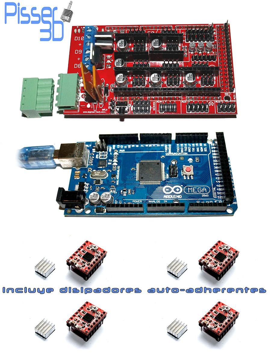 Kit Impresora Arduino Mega 2560 Ramps 14 A4988 X4 Pisser 3d R3 1 4 5 Drivers Para Cargando Zoom