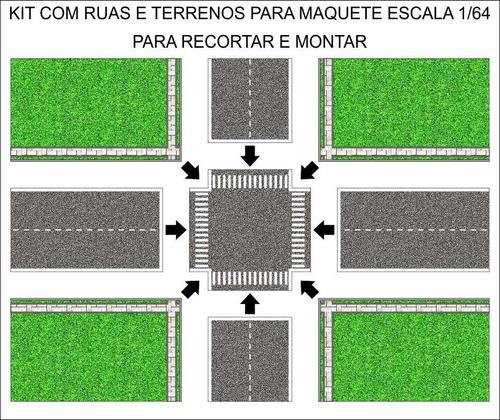 kit impresso ruas e terrenos para maquete escala 1/64