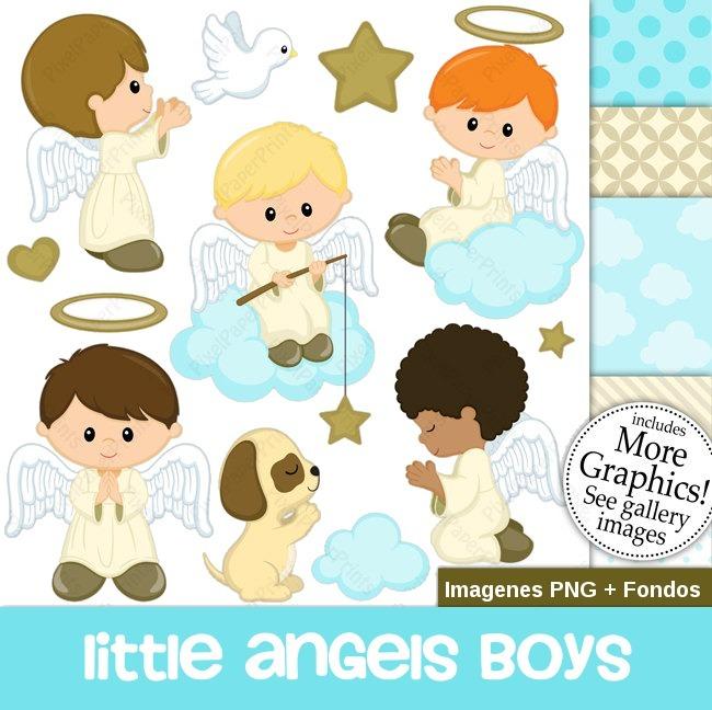 Kit Imprimble Angeles Niños Bautizo Bebes Comunion Imagenes S 15