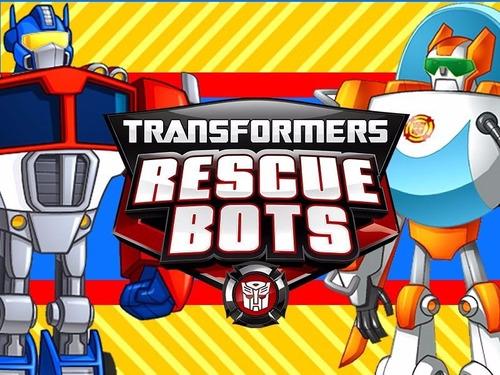 kit imprimible 1 transformers rescue bots diseña tarjetas