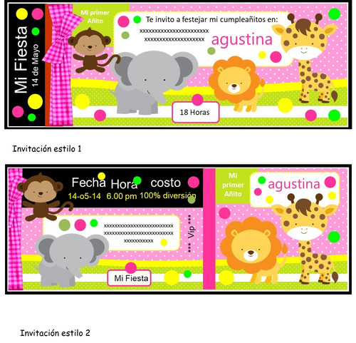 kit imprimible 100% editable animalitos de selva oferta 2x1