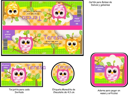 kit imprimible 100% editable buhos nena  verde oferta 2x1