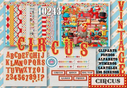 kit imprimible 138 diseños circo vintage cliparts fondos let