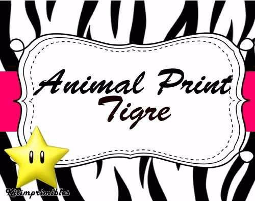 kit imprimible 2 animal print tigre diseñá tarjetas cumples