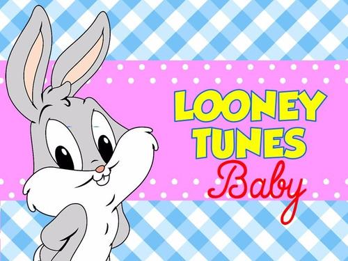 kit imprimible 2 baby looney tunes diseñá tarjetas cumples