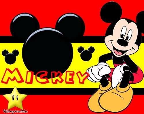 kit imprimible 2 mickey rojo y negro diseñá tarjetas cumples