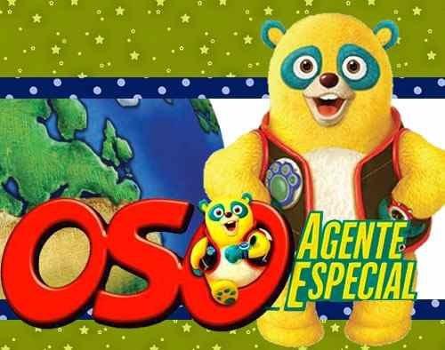 kit imprimible 2 oso agente especial diseñá tarjetas y mas