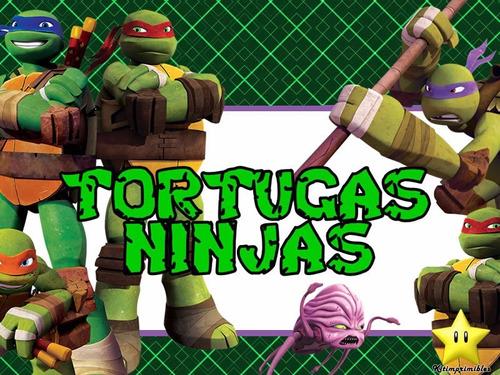 kit imprimible 2 tortugas ninja diseñá tarjetas cumples  mas