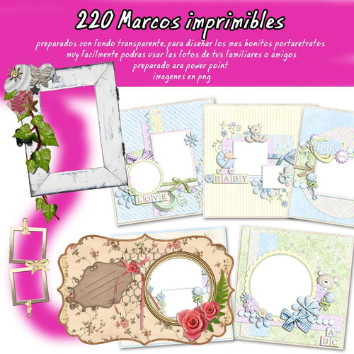 kit imprimible 220 marcos imprimibles impresionante material