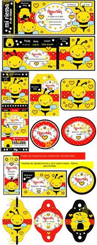 kit imprimible abejita abeja diseñá tarjetas cumples y mas