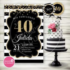 Kit Imprimible Adultos 40 50 60 Años Negro Dorado Invitación