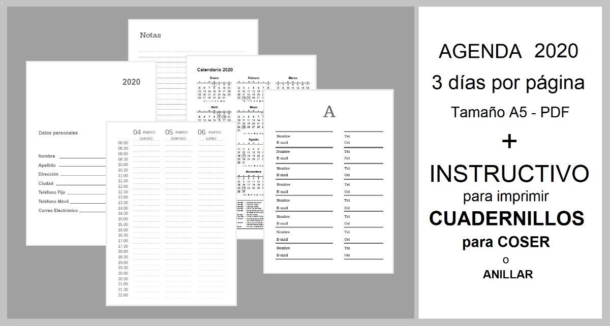 Calendario Agenda 2020 Para Imprimir.Kit Imprimible Agenda 2020 A5 Coser Anillar Instructivo