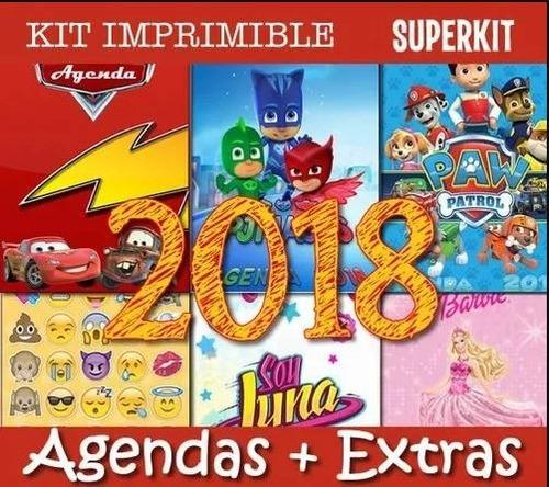 kit imprimible agendas 2018 editables + regalos