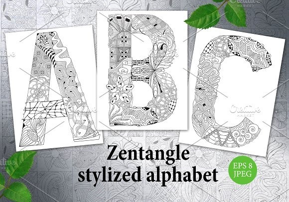Kit Imprimible Alfabeto Zentangle Para Colorear - $ 38,00 en Mercado ...