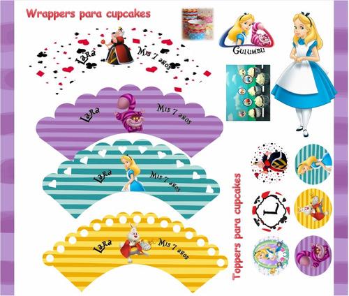 kit imprimible alicia en el pais de las maravillas candy 2x1