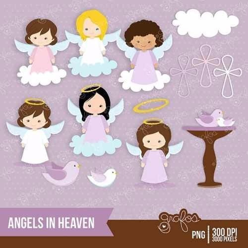 kit imprimible angelitos nena 3 imagenes clipart