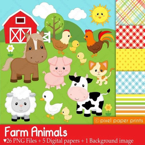 Kit Imprimible Animales De La Granja 26 Clipart 6 Fondos