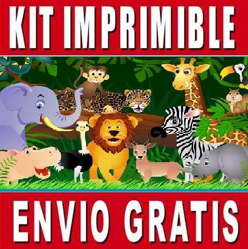 kit imprimible animales de la selva diseña invitaciones