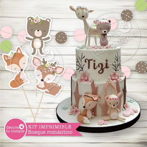 kit imprimible animales del bosque zorrito cumpleaños candy