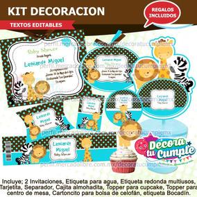 Baby Shower Safari Nino Decoracion.Kit Imprimible Animalitos Baby Shower Safari Invitacion A78