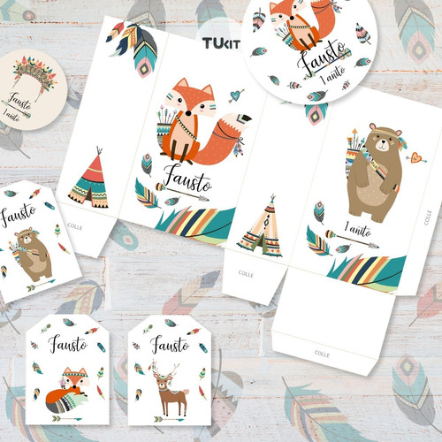 kit imprimible animalitos del bosque tribal tipi candy bar t