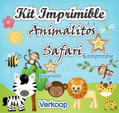 kit imprimible animalitos safari + candy bar invitaciones