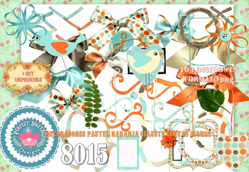 kit imprimible arabescos celestes naranjas 104 diseños scrap